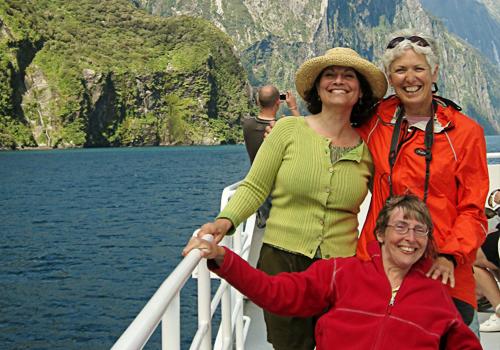 Wheelchair traveller enjoying a cruise on Milford Sound, Fiordland