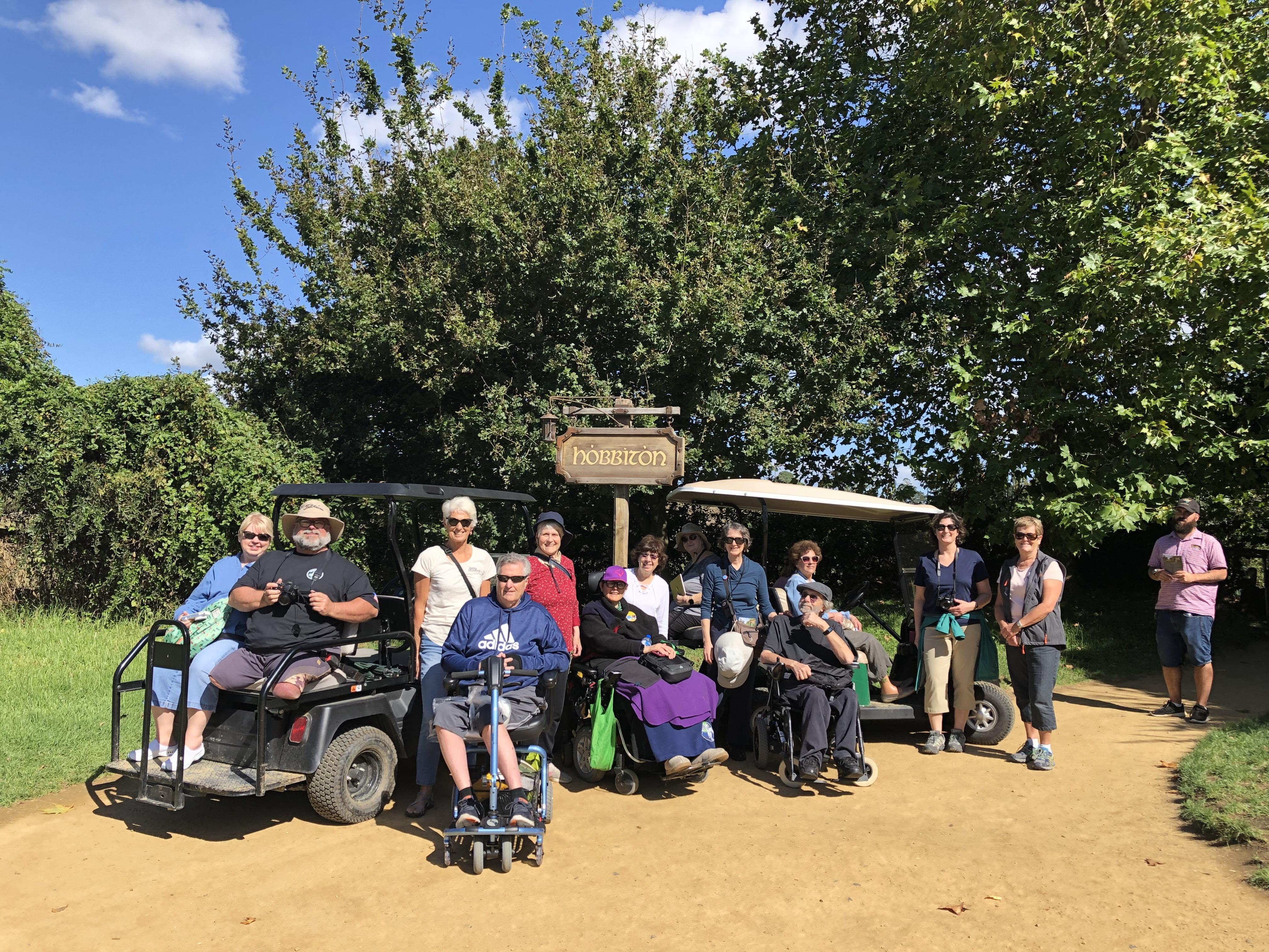 Accessible tour group visiting Hobbiton