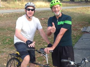 Tandem cyclist and his pilot rider